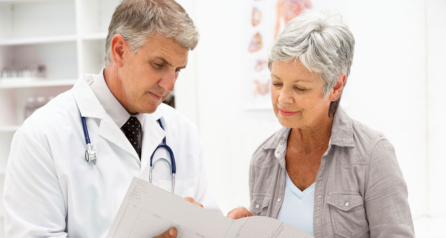An image of a doctor showing a patient her results